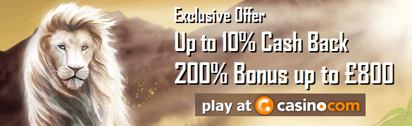 Casino.com UK Casino Cash Back