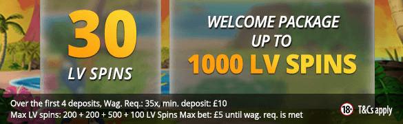 LVbet 30 LV Spins No Deposit