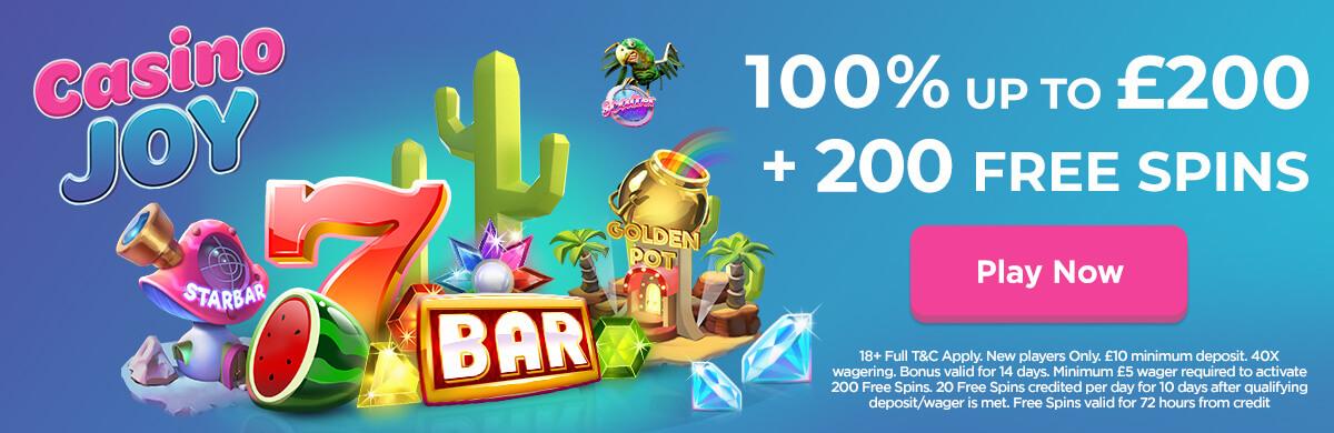Casino Joy Gives 200 Starburst Free Spins And Bonus